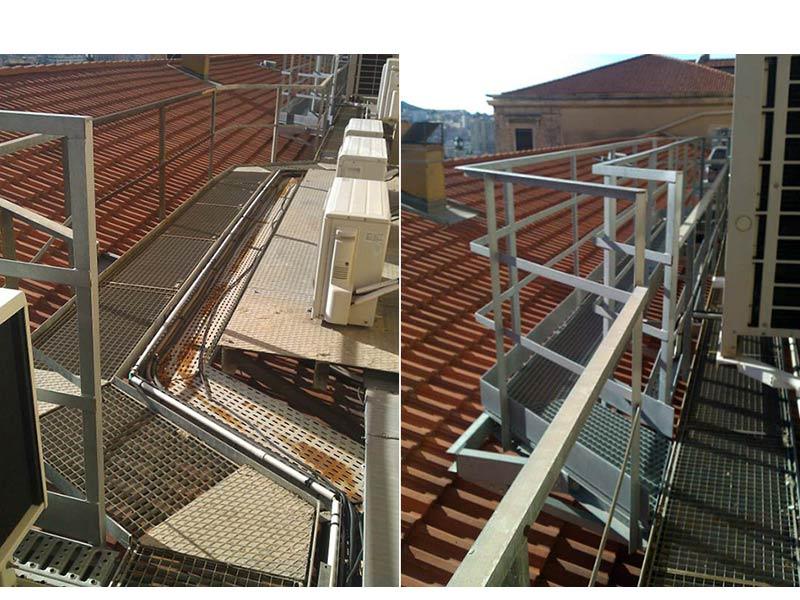 Passerelle métallique sur toiture de la gare Saint Charles Marseille