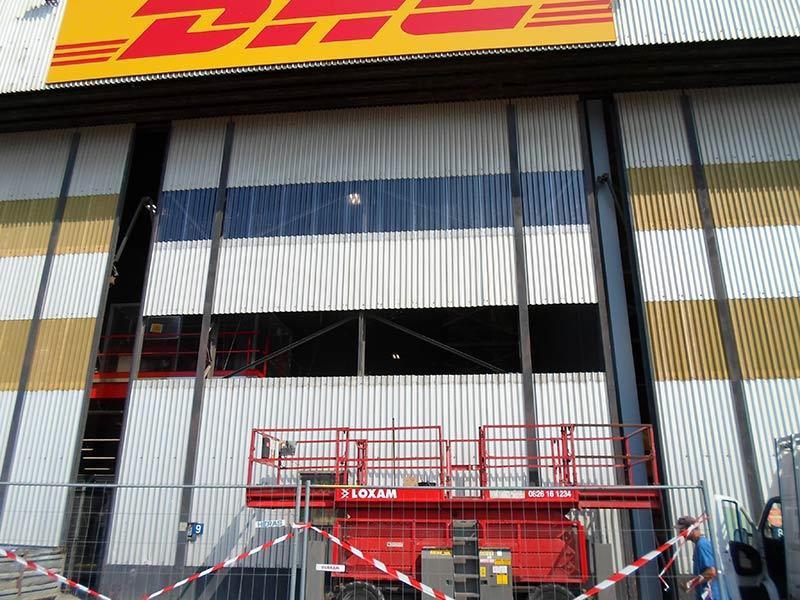 Pose de bardage, centre logistique DHL